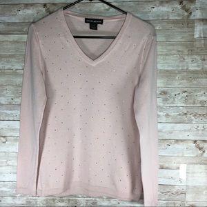 DKNY Jeans Women's V Neck Sweater Pink